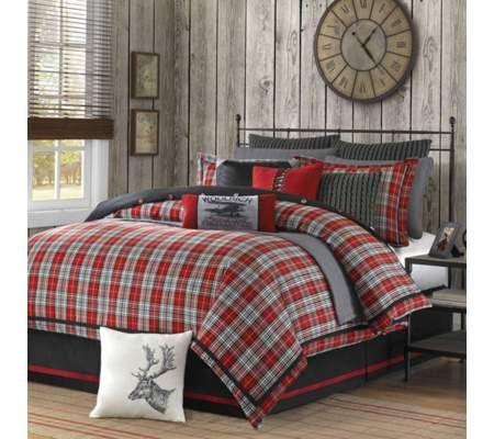 la cama es negra y roja