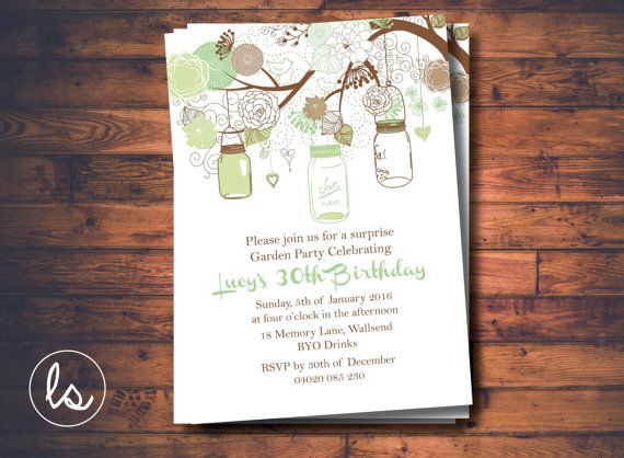 Mint Mason Jars Garden Party Invitation ~ DIY PRINTABLE ~ Professional Printing with envelopes and postage included
