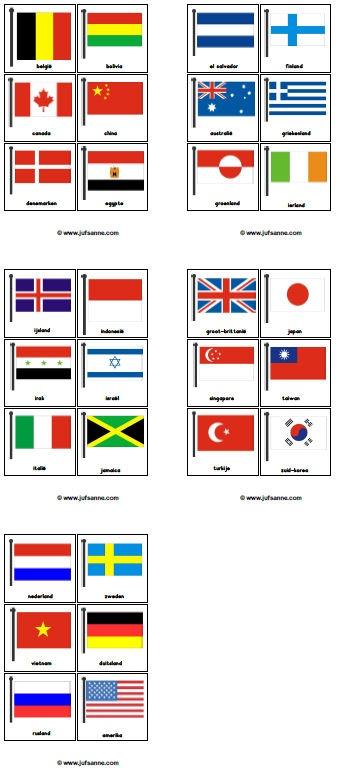Leuk spel van juf Sanne voor de kinderboekenweek 2012: Vlaggen-memory