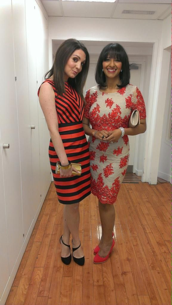 Laura Tobin (ITV Weather girl in Karen Millen dress) and Ranvir Singh (ITV Good Morning Britain, News at 630/Ten presenter wearing Phase Eight dress) - May 2015).