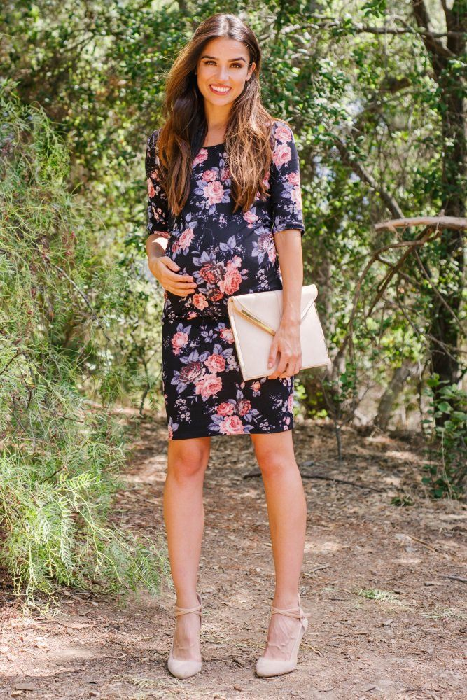 Navy Blue Floral Fitted Maternity Dress | Pink Blush $52.00