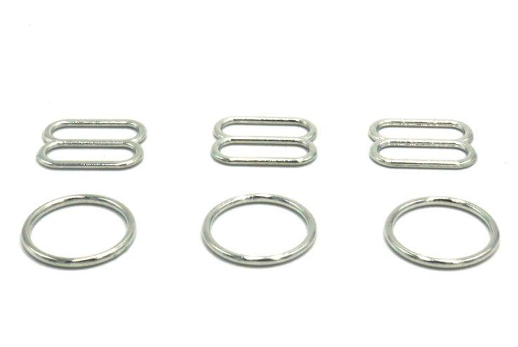 100 pcs / lot bra Silver/Gold/gun black  ring slider 15mm bra accessory