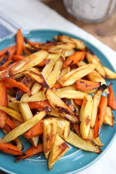 Honey Roasted Parsnips and Carrots - my kids LOVED these!