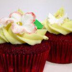 Röda cupcakes med chokladsmak och en vit chokladfrosting på