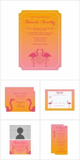 Pink Flamingos In Love Tropical Wedding Set #wedding #flamingo #tropical