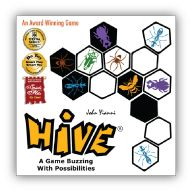 "Hive-  An interesting two player abstract game.  I think if I get it I want to get the ""Pocket Edition"" that comes with the expansion tiles already and costs a bit less."