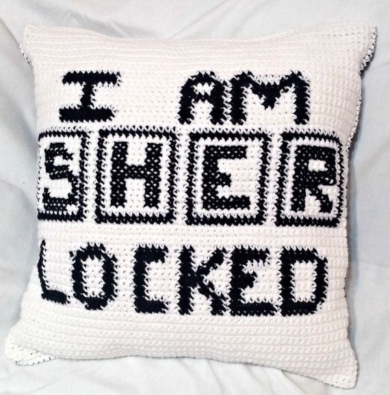Sherlock Holmes Crochet Pillow Cover. Crochet Pillow Case, Sherlocked Crochet, Throw Pillow Case, Sherlock Crochet Cushion