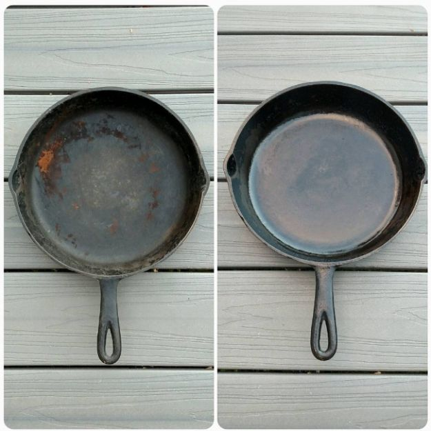 Effectively clean your cast iron by using a potato half and salt. | 21 Instagram Cleaning Hacks That Are Borderline Genius