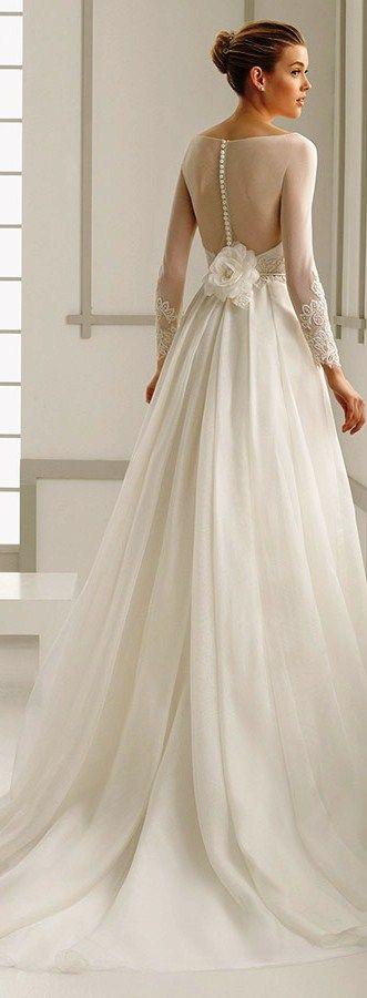 Rosa Clara 2016 bridal collection bateau neckline illusion long sleeves A-line wedding dress deba back