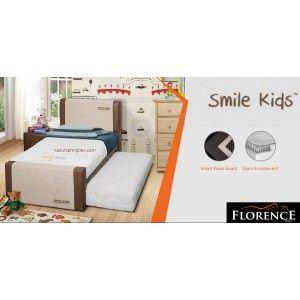 SMILE KIDS Florence Spring Bed SERI : Florence KIDS Headboard : Smile Kids 117 cm Box : 60 cm Mattress : 23.5 cm  http://www.kasurspringbed.com/florence-springbed/579-smile-kids-florence-spring-bed.html