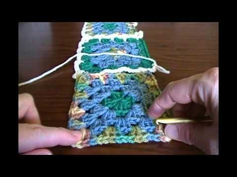 How to join crocheted granny squares using a five chain flat braid method