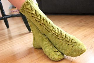Summer green socks from a pattern called Braiding Sweetgrass...
