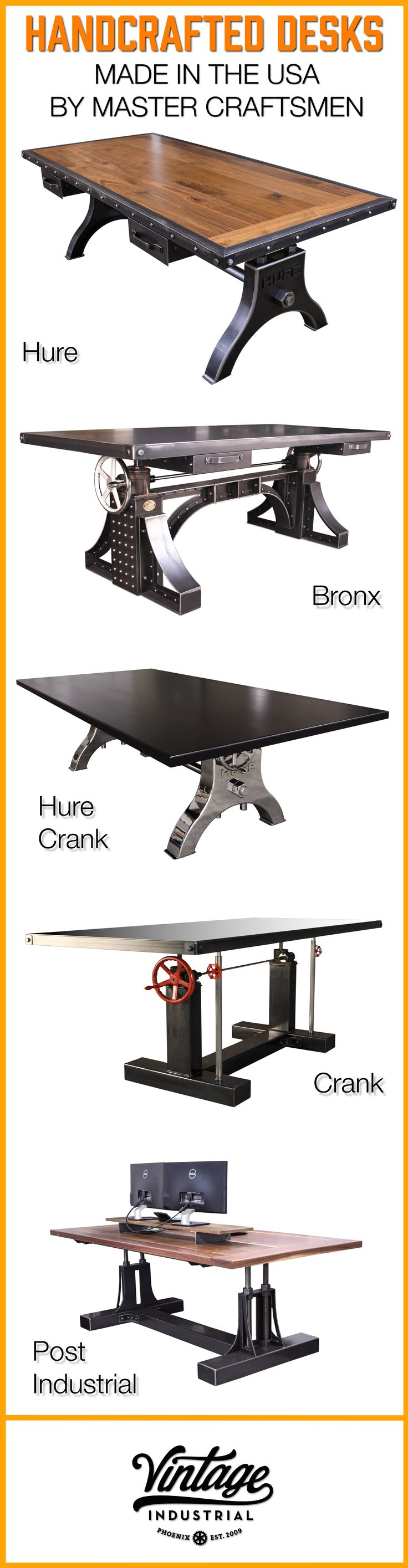 Hure conference table with faux crank vintage industrial furniture - Vintage Industrial Has Been Making The Highest Quality Industrial Style Desks Since 2009 All Of