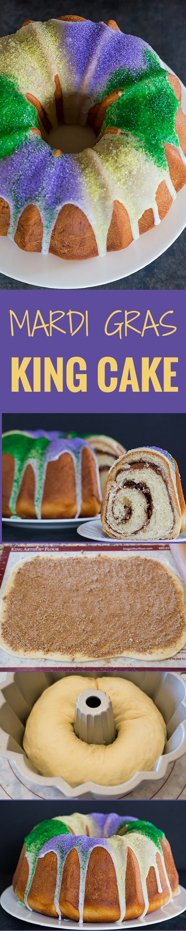 A festive King Cake for Mardi Gras – filled with a pecan, brown sugar and cinnamon swirl – baked into a Bundt pan and decorated with colored sanding sugars.