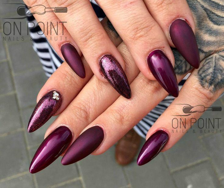 @fluidnaildesign sculptured acrylic nails with @colourmeprettygelpolish - 2 coats of divine wine over a thin layer of black gel polish, @glittergasm71 - SS maroon, matte top coat & @poochieznails gloss topcoat. #acrylicnails #dopenails #fluidnaildesign #fluidnaildesignaustralia #happyclient #ilovenails #nails #nailart #nailswag #onpointnailsbeauty #prettynails #perthnailtech #perfectnails #qualitynails #qualityoverquantity #almondnails #stilettonails #mattenails #plumnails #burgundynails
