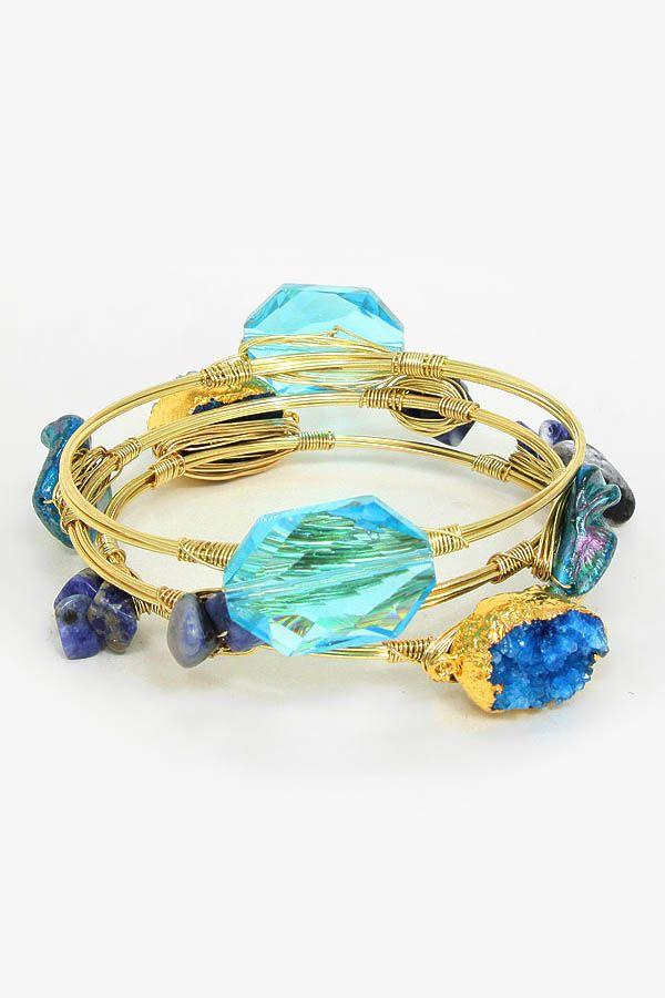 Semi Precious Druzy Bracelet in Sodalite on Emma Stine Limited