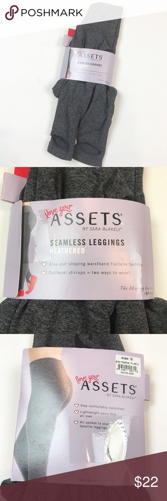 Assets NEW heathered gray seamless leggings size S Assets NEW heathered gray seamless leggings size S. Optional stirrups. Stay put, waistband flattens tummy. Great and comfortable gray leggings for all those tunic tops! ASSETS by Sara Blakely Pants Leggings