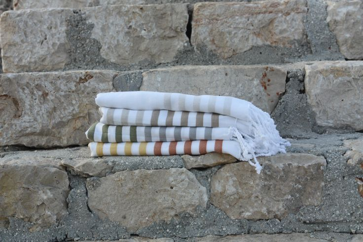 Sheker Candy Stripe Beach Towels - natural colour palette