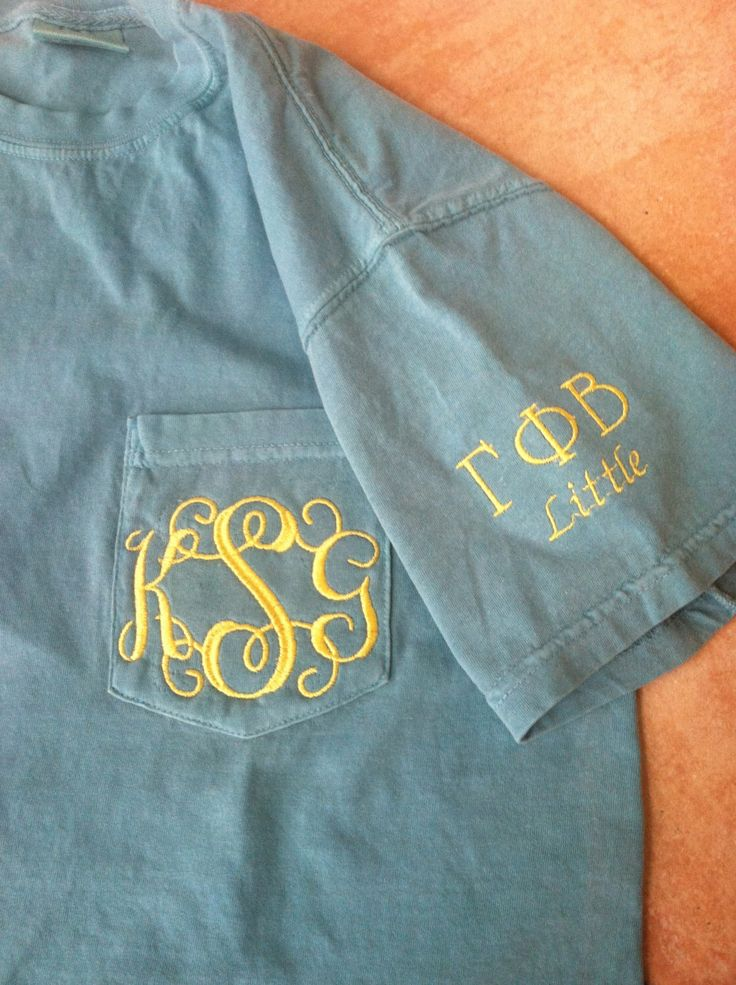 Monogrammed Comfort Colors Pocket Tee with Optional Sorority Letters and Big/Little Sleeve Detail by OhSewUniqueCreations on Etsy https://www.etsy.com/listing/226094960/monogrammed-comfort-colors-pocket-tee