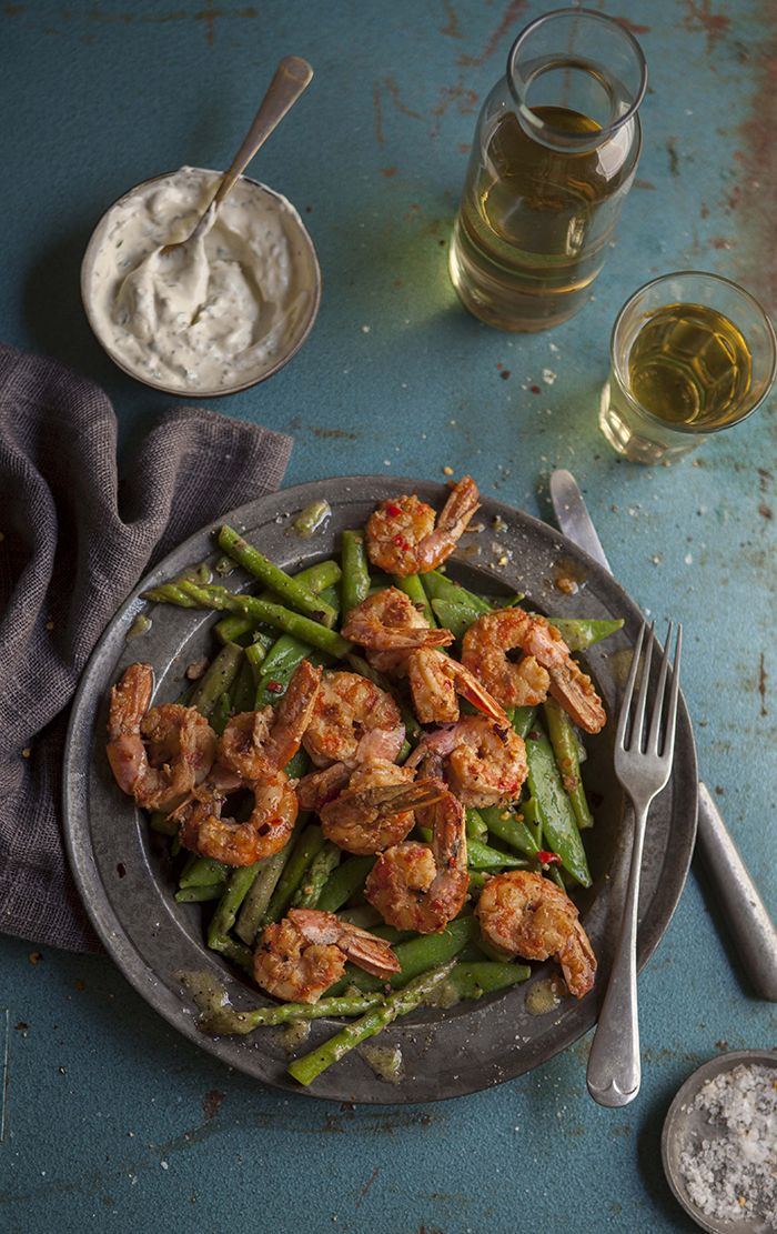 Pan fried prawns with chilli, garlic and brandy on an asparagus and pea salad . DrizzleandDip.com . Samantha Linsell .