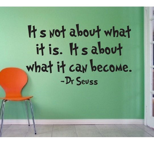 Dr Seuss Quote Sign Vinyl Decal Sticker wall lettering Family It's not about what it is Its about what it can become learn suess kids books