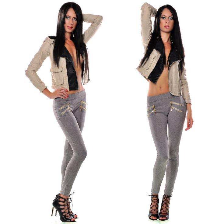 Pantaloni tip colanti cu fermoare la buzunare | New Fashion Romania  >> Click pe poza pentru a vedea pretul. #PantaloniDama
