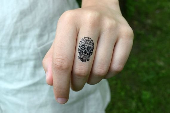 Temporary Tattoo Candy Skull - Tiny Tattoo, Skull, Skeleton, Black, Floral, SET OF 2