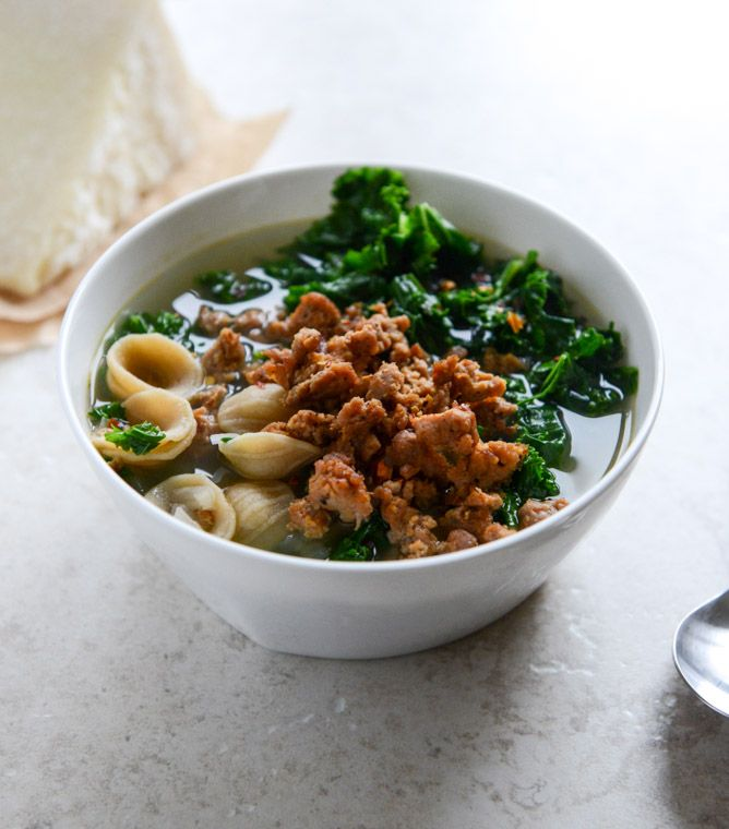 Spicy Sausage, Kale and Whole Wheat Orecchiette Soup I howsweeteats ...