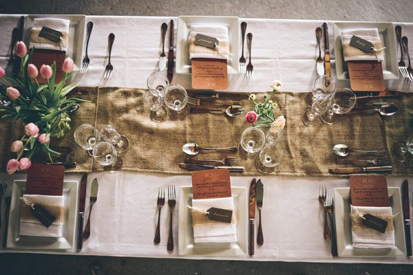 Rustic table setting | Read More - http://onefabday.com/rustic-chic-french-vineyard-wedding/