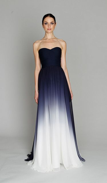 Monique Lhuillier pre fall 2011. loving the dramatic color gradation in this dress!...if i ever could afford or war Monique Lhuillier I would choose her for a huge night out or for a wedding dress...she knows how to dress women