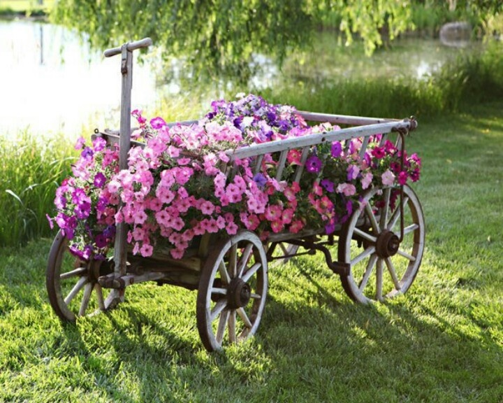 Wagon Filled With Petunias Cute Pink Flowers Garden Cart Yard Wagon Planter  Petunias