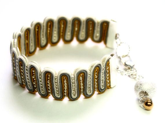 silver gray mustard yellow and gold-  soutache bracelet  free shipping via Etsy