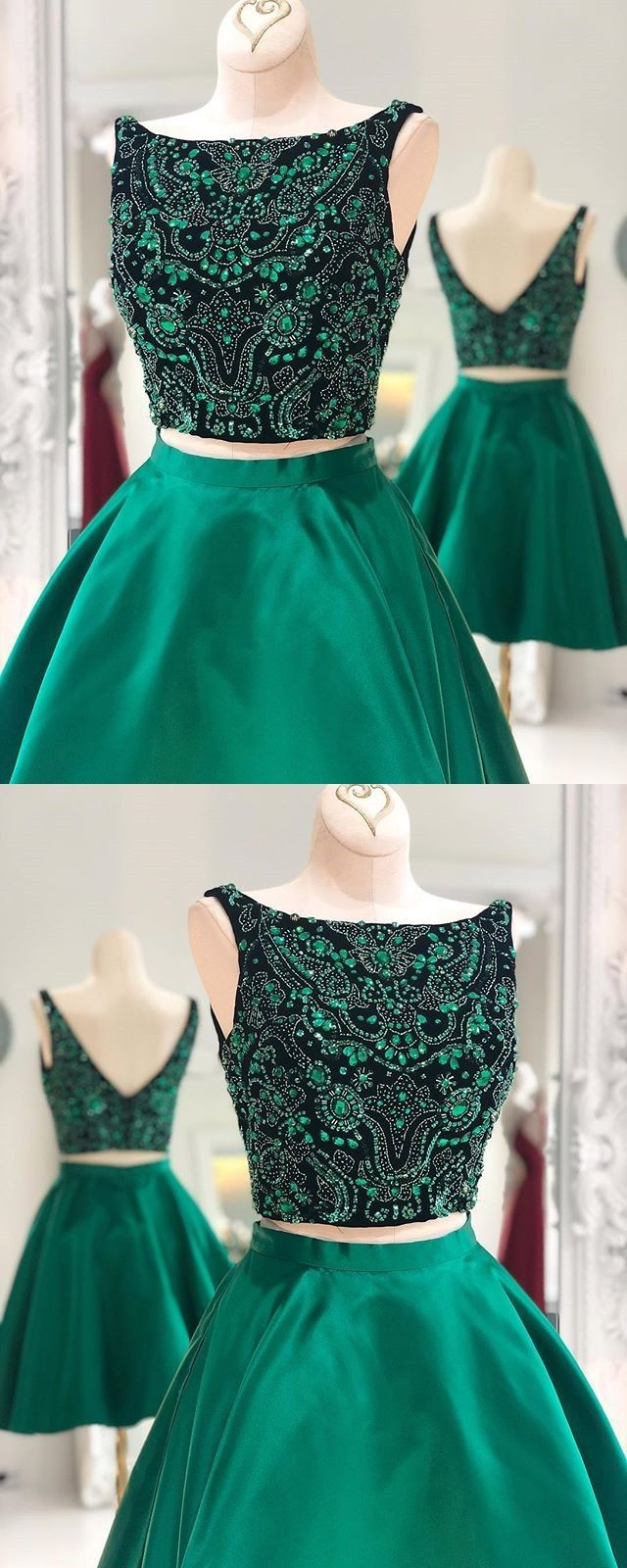 elegant hunter green 2 pieces homecoming dresses with beaded ... c31e1fb0c