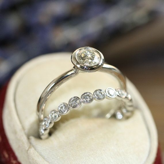 Bridal Set Diamond Engagement Ring Bezel Set Diamond Eternity Band 14k White Gold Wedding Ring Set (Other Metals & Stones Available)