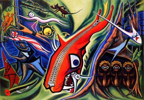 『Law of the Jungle - 森の掟(1950)』by Taro Okamoto - 岡本 太郎  Oil On Canvas 181.5 × 259.5 cm