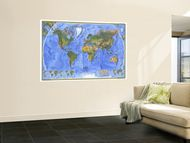 1975 Physical World Map Wall Mural by National Geographic Maps 48 x 72in