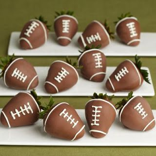Chocolate covered strawberry footballs for Superbowl Snacks!