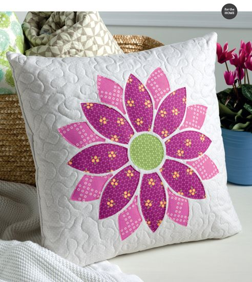Bloom pillow by Andy Knowlton - fusible applique and an envelope-style back makes this pillow super-simple to sew.