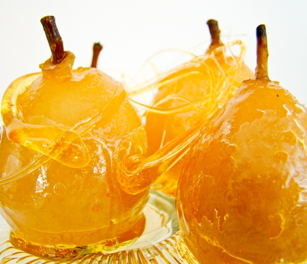 Caramel Coated Seckel Pears...they serve as a lovely table decoration ...