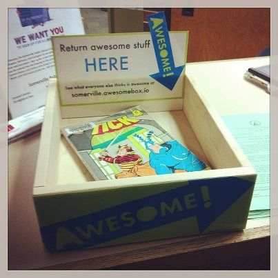 """""""Awesome Box"""" at circulation desk. Patrons put in books, CDs, DVDs, whatever they thought was awesome and the staff keeps a list on the website."""