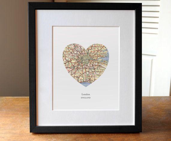 Londen hart Print, Londen kaart afdrukken, hart kaart afdrukken, kies een geboortestad, aangepaste Valentijnsdag geschenk, Valentijnsdag Print