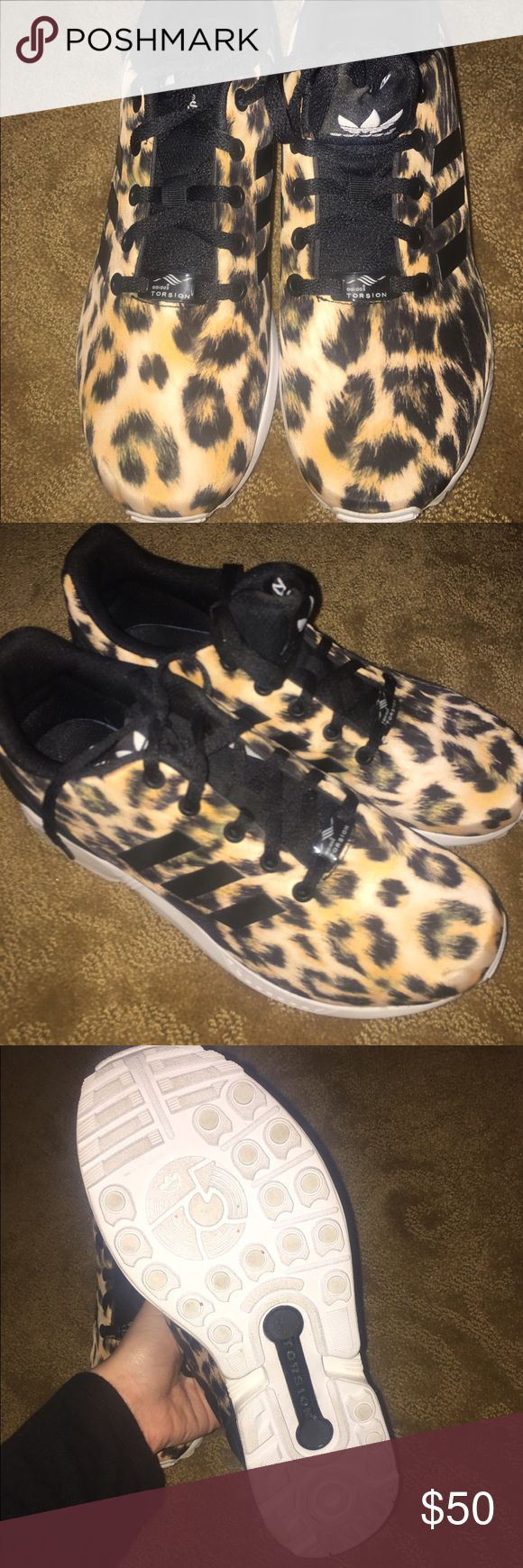 Adidas ZX FLUX Leopard worn twice! very eye catching. size 7. negotiate! Adidas Shoes Sneakers