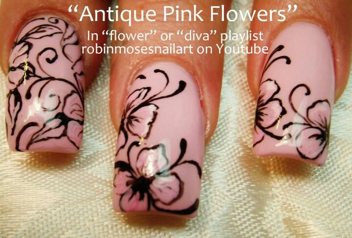 Antique pink flowers - nails