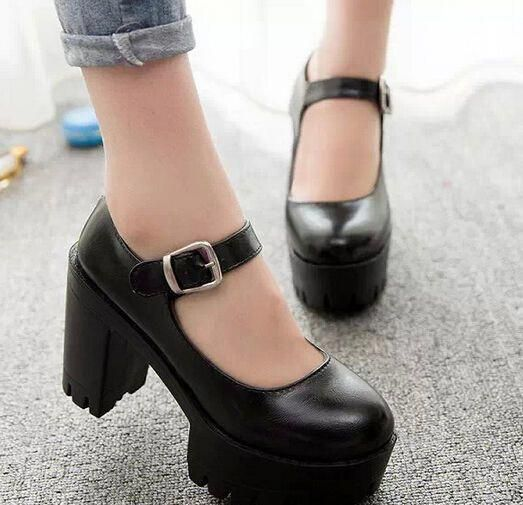 Mary Janes Womens Platform Hollow Out Chunky Heel Platform Pumps Gothic Shoes