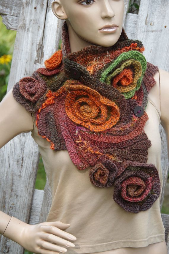 Crochet Scarf Unique Capelet Roses Crochet button scarf Schadows green orange brown Woman's Shawl Cape Neck Warmer Freeform crochet
