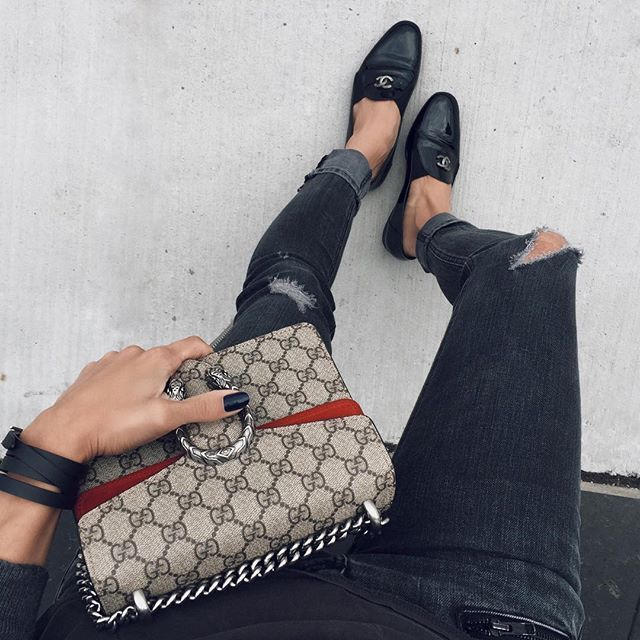 Gucci Dionysus + Chanel paten leather loafers ✌️ woahstyle.com