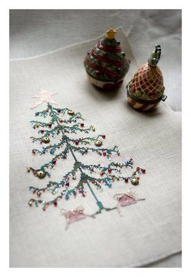 Christmas Tree - cross stitch embroidery with beads.
