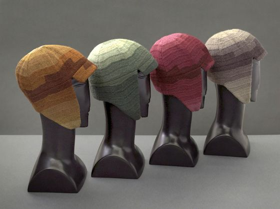 "Sonia Delaunay, Driving caps, 1924-28, in ""Color Moves: The Art and Fashion of Sonia Delaunay,"" 2011, at the Cooper-Hewitt, National Design Museum"