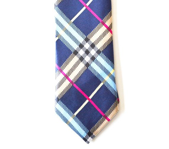 Mens Multi Color Blue Necktie Modern Tartan Style by HelloMrSmith | See more about Blue Ties, Color Blue and Tartan.