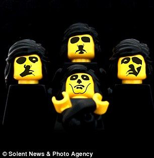 Artist Aaron Savage has unveiled his Greatest Hits - these legendary album covers made out of Lego. Pictured: Queen's 'Queen II'' album cover in Lego